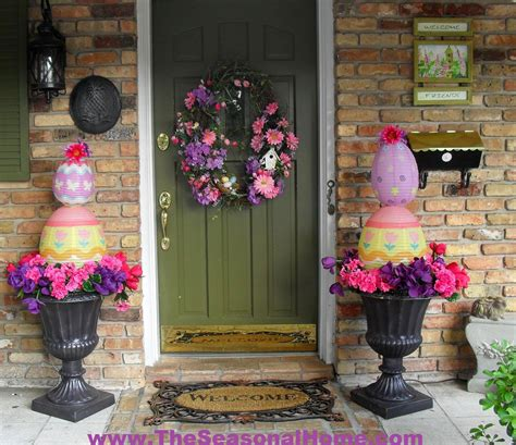 Easter Porch Decor by Easter Egg Topiary 171 The Seasonal Home