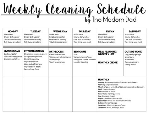 sle cleaning schedule template house cleaning schedule house plan 2017