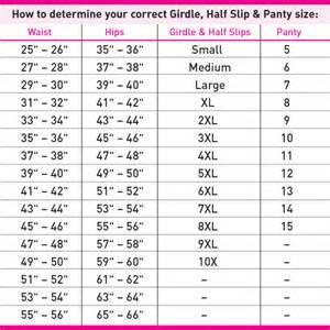 Vanity Fair Slip Size Chart Shapewear Slip And Panty Size Chart