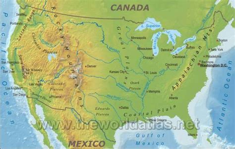 map of us lakes rivers mountains geographical map of