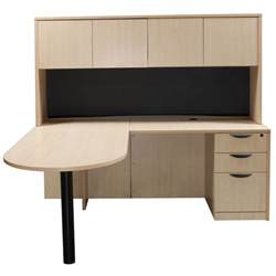 Desk With Return And Hutch Laminate Right Return L Shape Bullet Desk With Hutch Maple National Office Interiors And