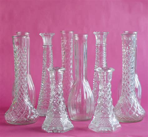 Glass Flower Vases Clear Glass Vintage 20 Bud Vase Collection Tall 9 Bud