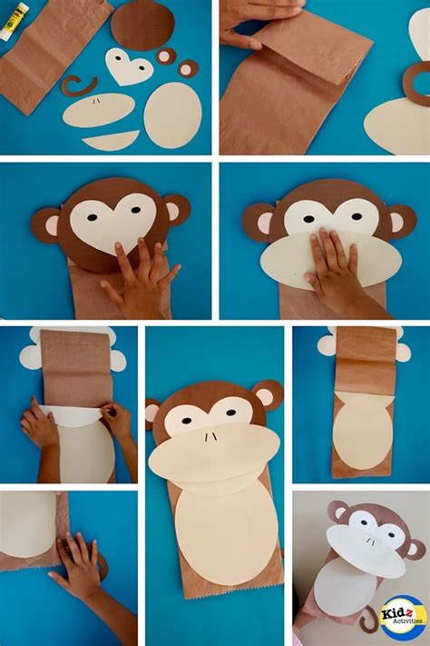 How To Make A Puppet Using Paper - monkey paper bag puppet kidz activities