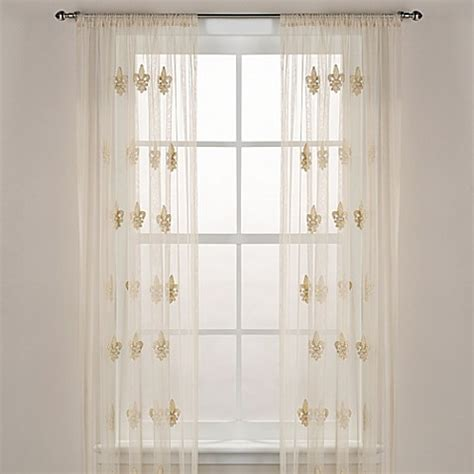 fleur de lis sheer window curtain panel in ivory