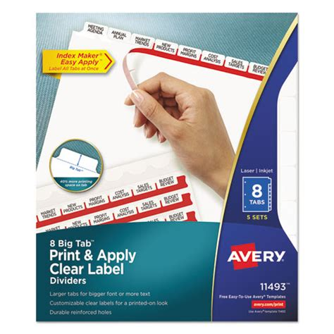 Ave11493 Avery Print Apply Clear Label Dividers W White Ta Zuma Easy Apply Label Strips Template 5 Tab