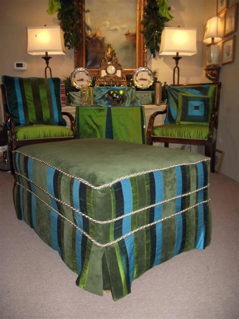 Turquoise Ottoman Coffee Table Ottoman Coffee Table Size Slip Covered Turquoise Blue And
