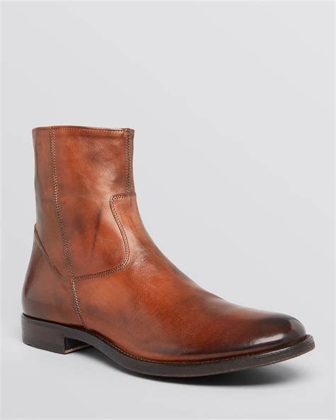 zip boots to boot side zip boots in brown for cognac lyst