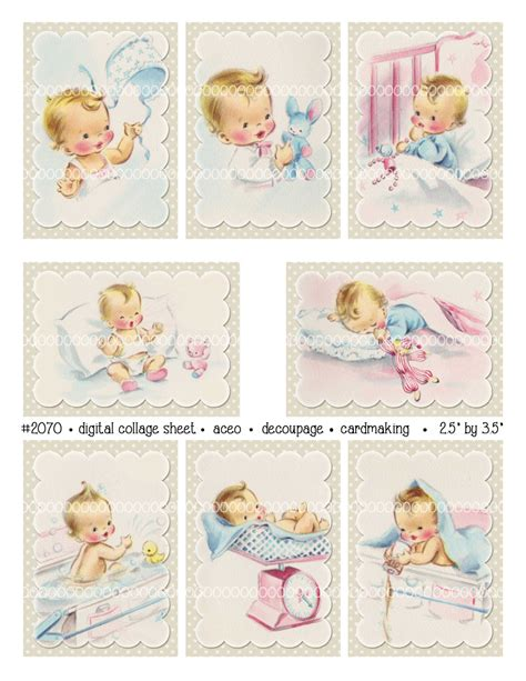 digital clipart instant vintage baby card