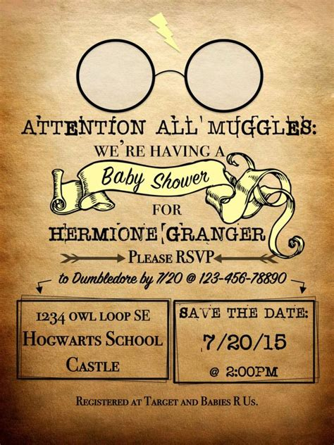 Personalized Harry Potter Theme Invitation Attention All Harry Potter Baby Shower Invitation Template Free