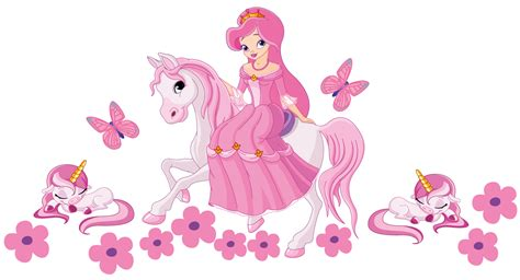 Removable Nursery Wall Stickers princess on a horse with unicorns wall sticker totally