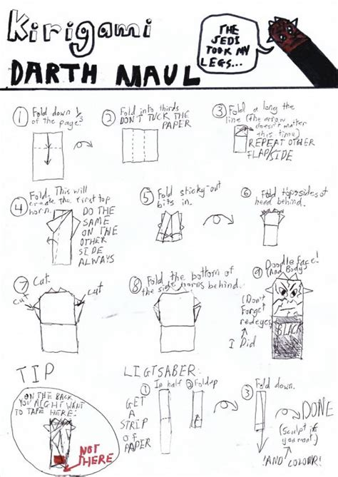 How To Fold Darth Paper Step By Step - instrux for my darthmaul origami yoda