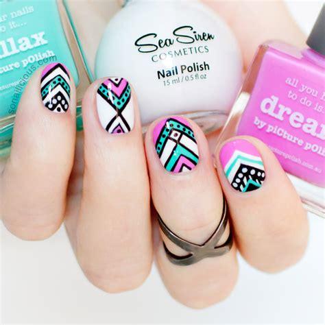aztec pattern nail art aztec nail design for short nails
