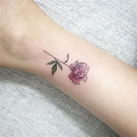 tiny peony tattoo committed for life pinterest
