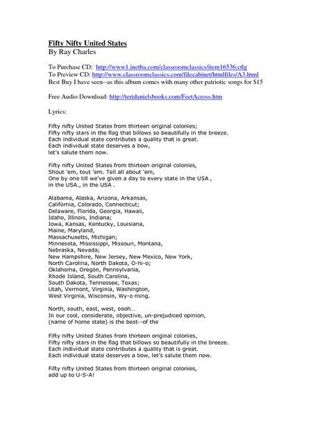 printable lyrics 50 nifty united states 50 nifty united states lyrics and websites core