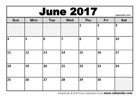 Calendar Of June June 2017 Calendar Printable Template Holidays Pdf