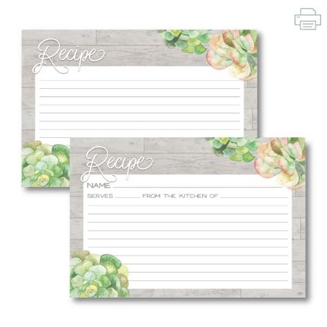 6x4 recipe card template word printable wood and succulents recipe cards sided