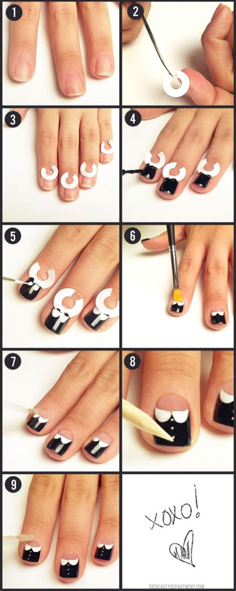 tutorial nail art kawaii white collar nail tutorial hawaii kawaii blog