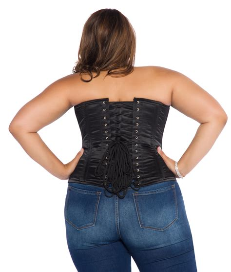 Satin Corset black satin plus size corset overbust with steel bones
