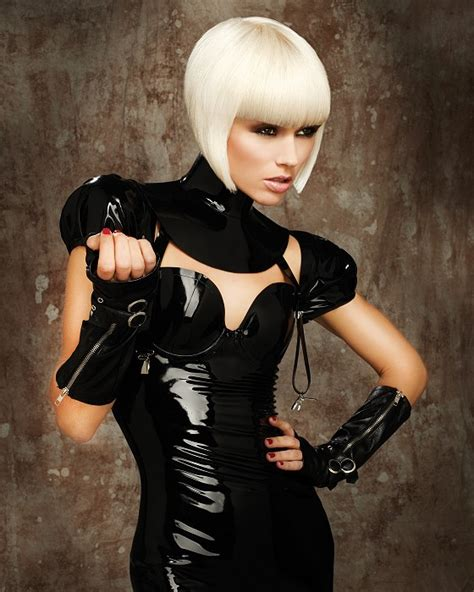 A short blonde hairstyle From the Fetish Courture