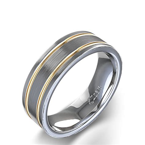 carved s two tone wedding ring in 14k gold