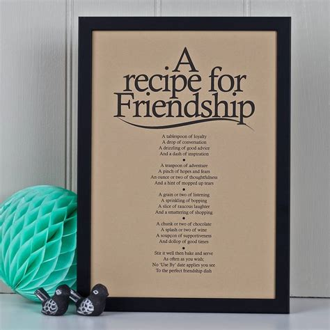 Template For A Friendship Recipe Card by Personalised Friendship Recipe Print With Poem By Bespoke
