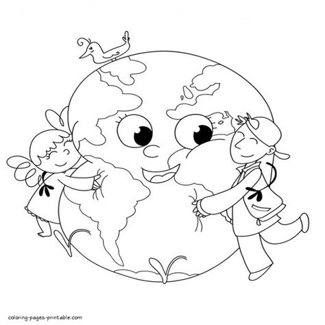 coloring pages for children s day children hugging the earth coloring page