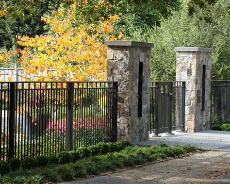front yard fences landscape traditional with iron fence entry gate