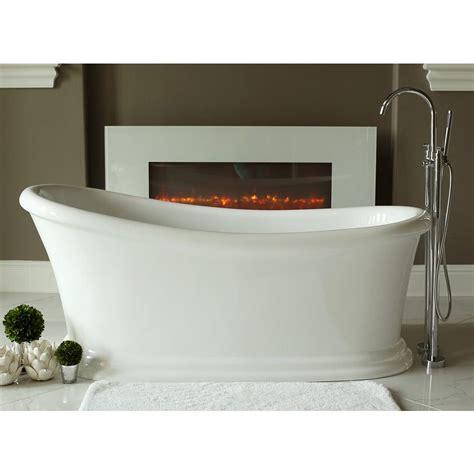 56 Freestanding Bathtub by Journey 5 6 Ft Acrylic Slipper Flatbottom Non Whirlpool Bathtub In White Lpijny S The Home Depot
