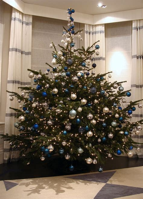 blue and silver decorated christmas trees altogetherchristmas trees