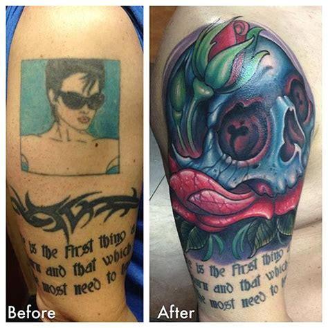 tattoo cover up east london blue skull and rose cover up by london reese tattoonow