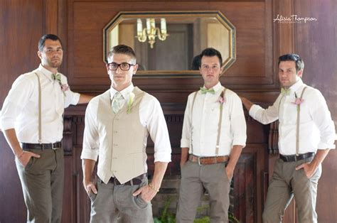 boat shoes and slacks groomsmen suspenders bowtiers rolled up shirts dress