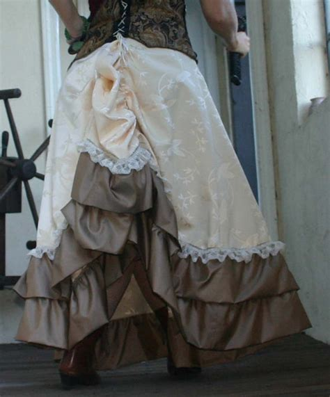 lace ivory victorian bustle skirt ivory floral tapestry lace ruffled bustle skirt