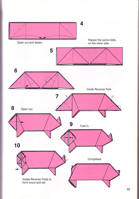 free origami patterns free coloring pages simple pig origami