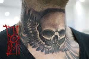 skull neck tattoo by tomyslav on deviantart