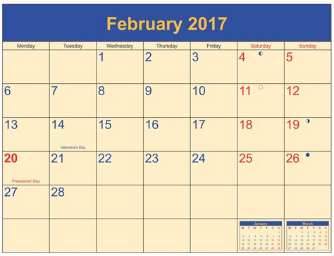 Clip Calendar February 2017 Calendar Clip Calendar And Images