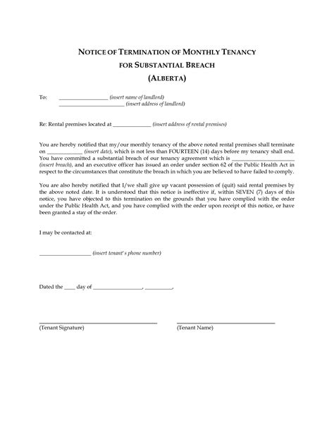 Lease Termination Letter 60 Days best photos of landlord agreement template free