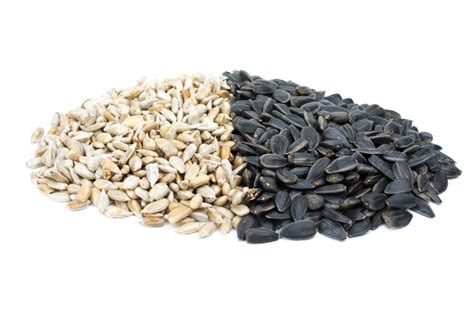 some black and shelled roasted sunflower seeds isolated on