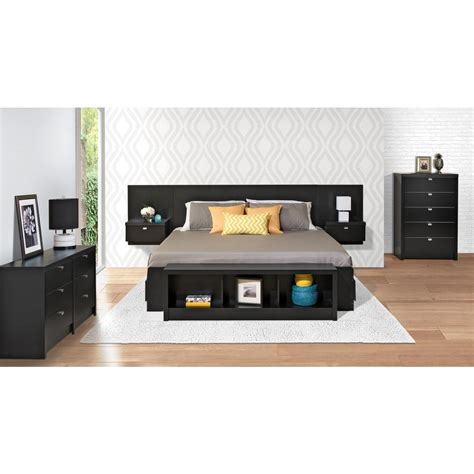prepac series 9 designer floating black king headboard
