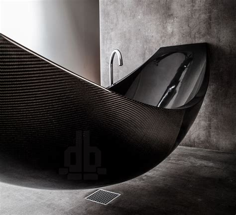 a hammock shaped carbon fibre bathtub by splinter works