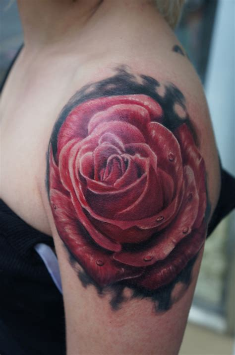 Rose Tattoo On Left Shoulder | realistic red rose tattoo on left shoulder
