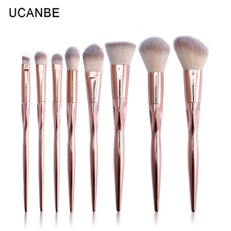 Brush Gold Set 8 Set ucanbe brand 8pcs luxury gold metal makeup brushes set grasp cosmetic professional