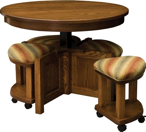 round table and bench amish 5 pieces round table bench set
