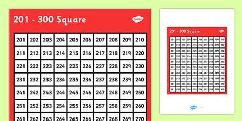201 300 Square 201 300 Square Number Number Square