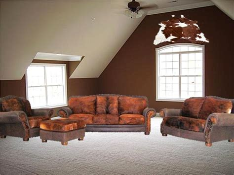 Western Living Room Sets Cowhide Furniture Groups Hair On Hide 4 Pc Furniture Sets