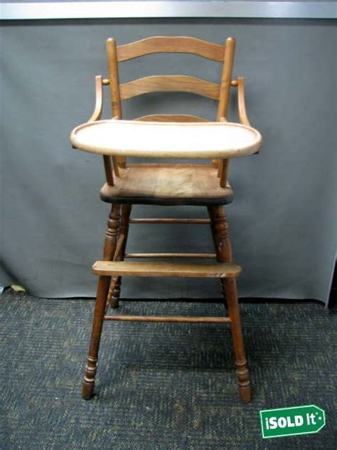 vintage folding wooden high chair antique vintage 1940s solid cherrywood finish baby high