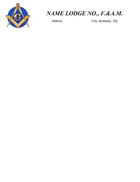 Lodge Letterhead Lodge No And Secretary Address The Grand Lodge Of Kentucky F A M Masonic Lodge Website Templates