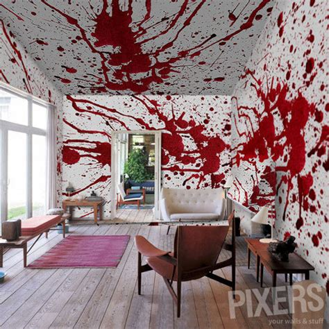 blood on the dining room floor wall mural blood splatter blood horror 海外のおしゃれでユニークな
