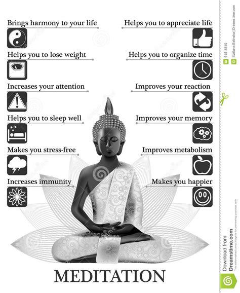 vorteile und gewinne der meditation infographic vektor abbildung bild 64816610