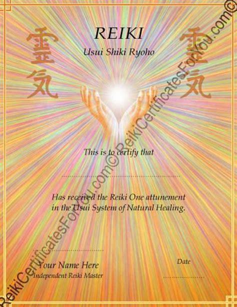 reiki certificate template healing hands