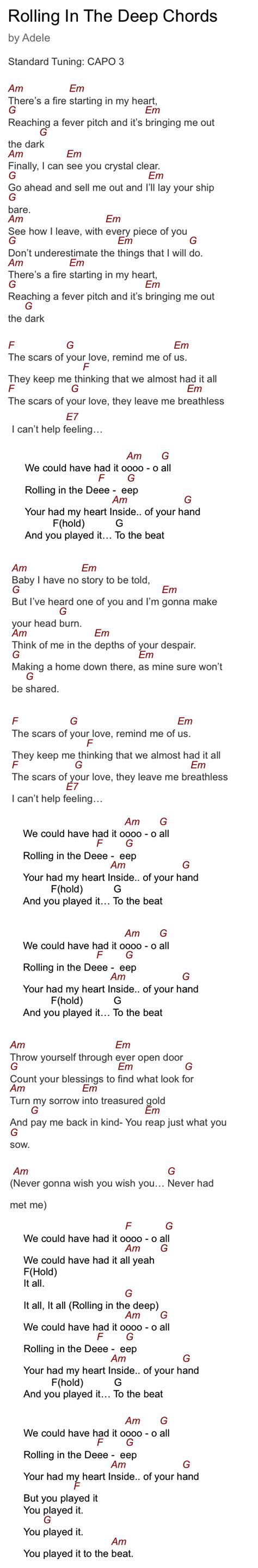 adele chords set adele s rolling in the deep guitar chords capo 3 guitar